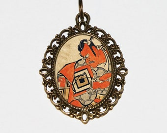 Demon Samurai Necklace, Japanese Woodblock Art, Ukiyo-e, Samurai Jewelry, Edo Period, Oval Pendant