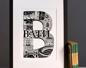 Bath print - Graduation gift - University town - Typographic art - Bath poster - Bath artwork