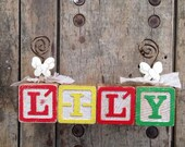 Personalized vintage Lily photo frame wooden alphabet block name wired Photo holder picture frame baby's nursery decor