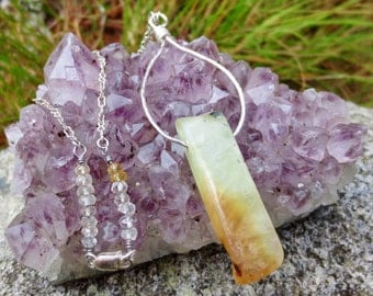 Handmade Sterling Silver Prehnite and Quartz Necklace