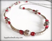Clearance! Red Garnet & Karen Hill Tribe Fine Silver Necklace, gemstone jewelry, gifts for her