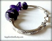 RESERVED for Inky - Royal Purple Amethyst & Karen Hill Tribe Fine Silver, gemstone jewelry, casual summer