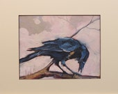 Hawkins Impressionist American Crow Bird Wildlife  matted Giclee print on archival 100# heavy stock Gift Sale