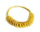 Golden Yellow Leather Knot Necklace