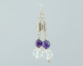 Handmade sterling silver 925 earrings with semi precious stones quartz amethyst