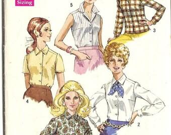 Simplicity 8399 blouse pattern, bust 32 pattern, plus size pattern, button cuffs. camp shirt pattern,button front blouse 10