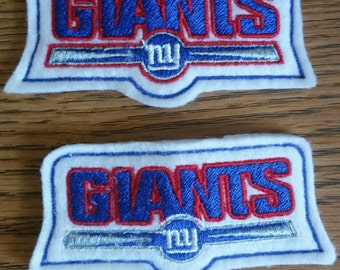 2 (1 pair) New York Giants Embroidered and appliqued Hair Clips - Felties -Barrettes