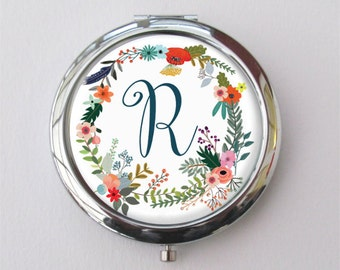 Bridesmaid Gifts, Personalized Compact, Autumn Wedding, Compact Mirror