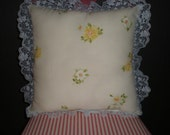 Upcycled Vintage Yellow Daisy Tea Pillow