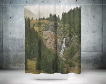 mountains shower curtain scenic nature decor mountain decor waterfall bathroom curtain scenic