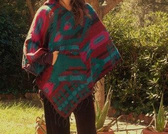 Nepal wool pixie hooded poncho