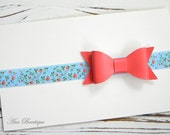 Coral Bow Headband -Coral Faux Leather Bow Headband - Leather Bow Headband - Floral Headband