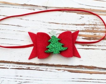 Christmas Bow Headband - Red Bow Headband - Felt Bow Headband - Christmas Baby Bow - Glitter Bow Headband