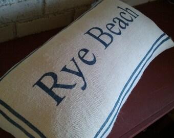 Custom Name Pillow, Custom Word Pillow, Decorative Pillow, Lumbar Pillow, Burlap Pillow, Personalized Pillow with Border, Rustic Home Decor