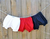 Baby Bloomers, Diaper Cover, Toddler Bloomers, white, red, navy, 6m, 12m, 18m, 2t