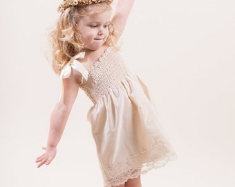 Sale Lace Flower Girl Dress...Rustic Wedding... Cream, Ivory or White... Eco-friendly...6m,9m,12m,18m,2t,3t,4t,5,6,7,8