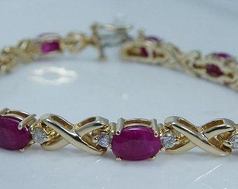 8800.00 Tag 13.95ct Ruby 1.25ct Diamonds Tennis Bracelet 14K Yellow Gold