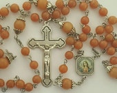 Rosary, Immaculate Heart of Mary, Sacred Heart of Jesus, Red Aventurine, Five Decade, Strong, Stainless Steel, Handcrafted, Gemstone Rosary