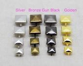 200 pcs 6-7-8-9-12 mm Pyramid Studs Rivets  BRONZE Punk Rock DIY Rivet Spike Square Rivet Shoes Bag Belt Leather craft accessories