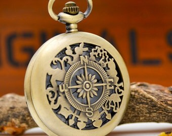 1pcs Antique Bronze Large compass  Watch Charms Pendant with chain ty142921