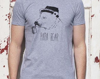 Papa Bear T-Shirt  - Father's Day Gift - Bear T-Shirt - cool T-shirt Gift for Dads - daddy bear T-Shirt  - hat hipster bear pipe moustache