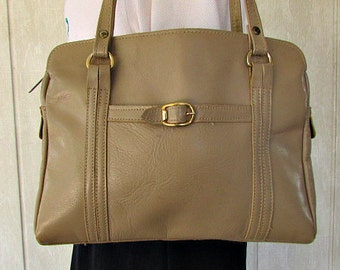 vintage 70s taupe leather satchel bag purse shoulder purse antonia designs  3 section purse