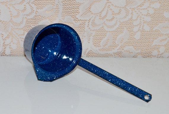 Blue Enamel Graniteware Vintage Speckled Graniteware By