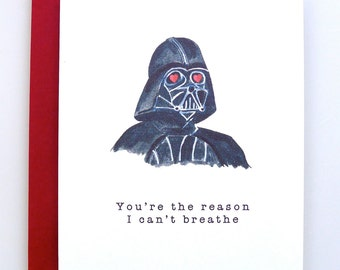Valentineu0027s Day Card Darth Vader   Funny Valentine   Star Wars Valentine    Handmade   Valentine
