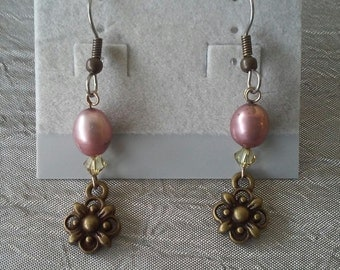 Freshwater Pearl and Antiqued Brass Floral Earrings