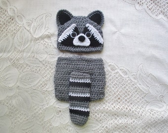 Crochet Raccoon Hat and Diaper Cover - Wildlife Animals - Photo Prop - Available in 0 to 24 Months - Any Color Combination