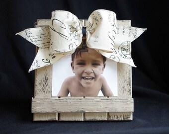 Barnwood Picture Frame Handmade 4x6 5x7 French Script Ribbon Shabby Chic Handmade Wedding Gift Fleur de Lis