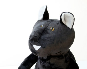 Big Black Panther, Double size Cuddly Plush Panther, Black Panther Plushie
