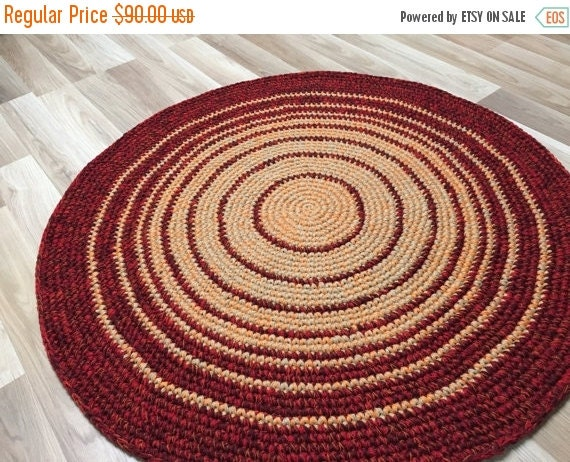 12% OFF 39'' in diameter, READY to SHIP, Crochet  Wool Rug in a beautiful two color combo