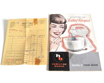 Hamilton Beach Stand Mixer Model K Instruction Manual Recipe Book, Receipt 1950s