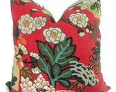 Chinese Lacquer Red Schumacher Chiang Mai Dragon Pillow Covers 18x18, 20x20 or 22x22  or Lumbar Pillow Made to order pillow cover