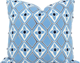 Light Blue Decorative Pillow Cover Navy Dot, 18x18, 20x20, 22x22 or lumbar pillow Throw Pillow, Accent Pillow, Toss Pillow, Tufted Diamond