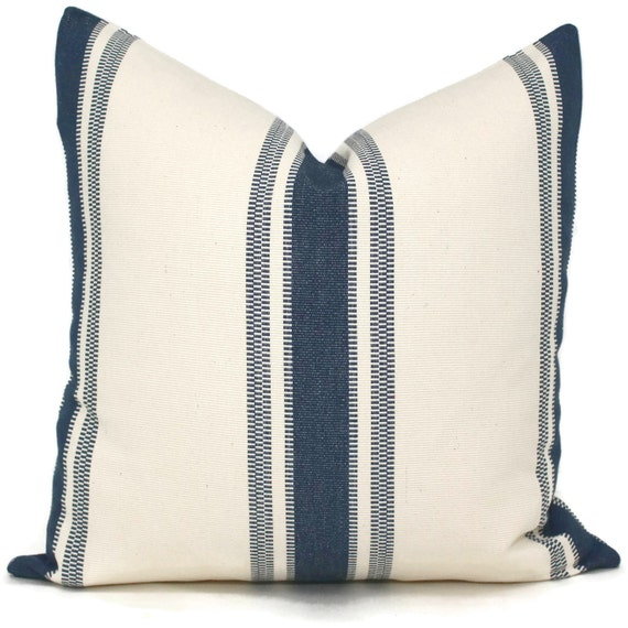 Blue Striped Throw Pillow Cover : Woven Blue and Cream Stripe Decorative Pillow Cover 18x18