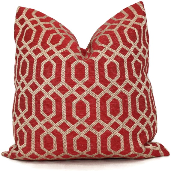 Decorative Pillow Cover Red and Tan Trellis 18x18 20x20