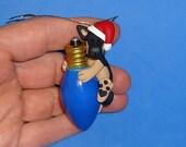 Polymer Clay German Shepherd Dog on Blue Bulb Ornament