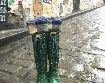 SLUGS Fleece Rain Boot Liners Navy with Navy & Green, Tall Boot Socks, Boot Cuff, Warm Sock, Rainy Day Fashion (Sm/Med 6-8)