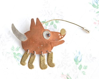 Copper and Brass Dog Lapel Pin - Primitive Design Brooch