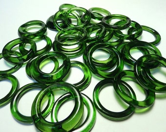 Recycled  Multi Colors Recycled Kiln Polished Bottle Rings 36 Rings (R980)