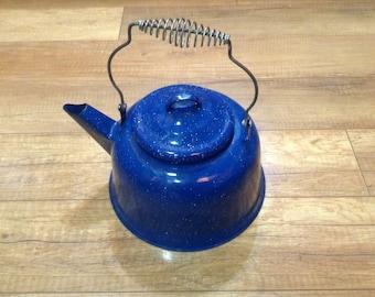 Blue Speckled Enamelware Farmhouse cottage Decor teapot Coffee Pot camping  Vintage Home Decor