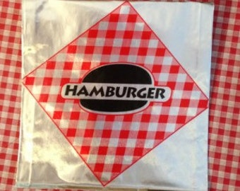 Red Gingham Print FOIL Hamburger and Hot Dog Concession Bags  40 BBQ pack