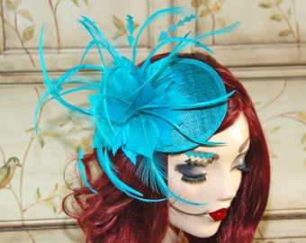 Teal Green Fascinator Hat - Teal Blue Green Kentucky Derby Hat,  Tea Party hat, Teal Wedding Fascinate, fancy British Fascinate Headband