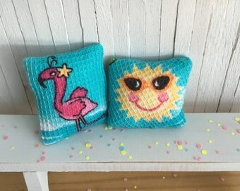 Miniature Beach Pillow Set - One With A Pink Flamingo And One With A Cute Sunshine Face