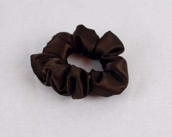 SALE Pure Silk Hair Scrunchie, Espresso Charmeuse, Small, Regular, and Large Sizes