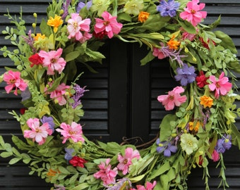 Large Floral Door Wreath - Flower Wreath - Spring Summer Door Decor