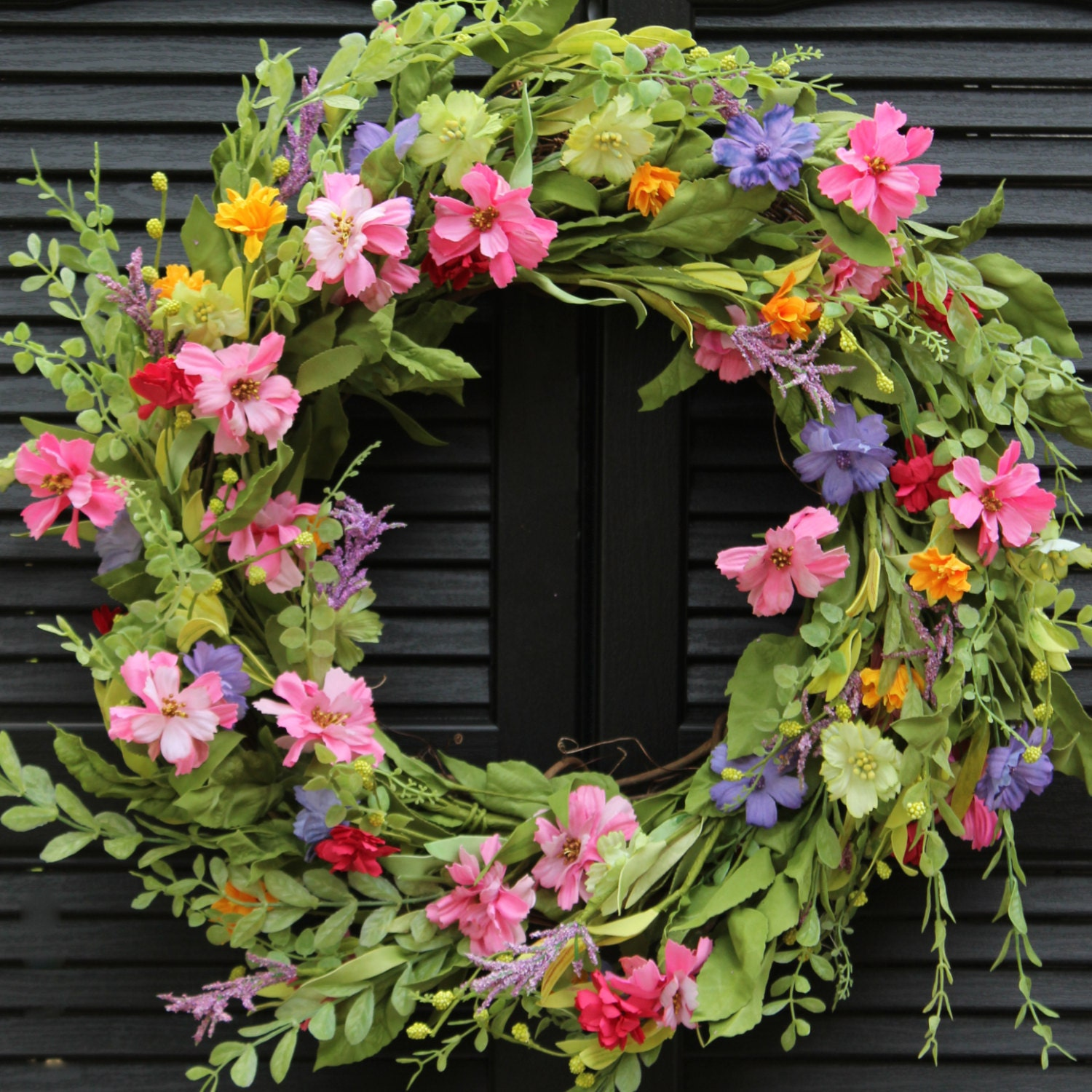 XL Spring wreath spring door wreath 29 round floral |Spring Flower Wreath