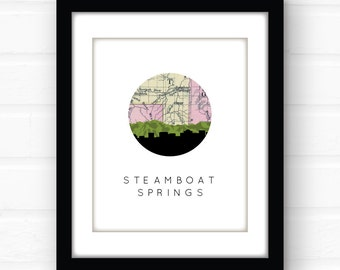 Steamboat Springs, Colorado art print | Colorado wall art | Colorado mountain art print | travel poster | Colorado map print | Colorado home